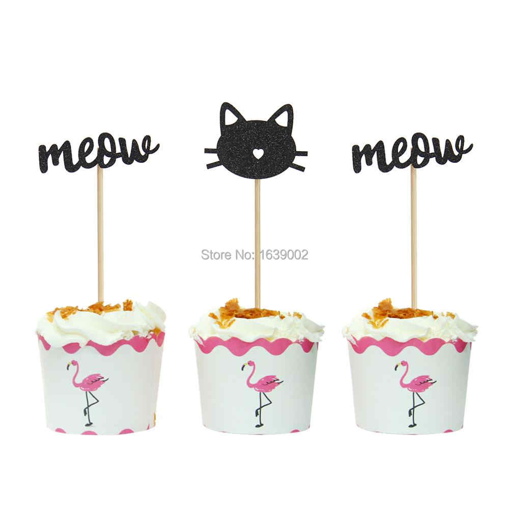 12pcs Gold Black Cat With Meow Cupcake Toppers Pet Birthday Decorations Baby Shower Party Supplies Free
