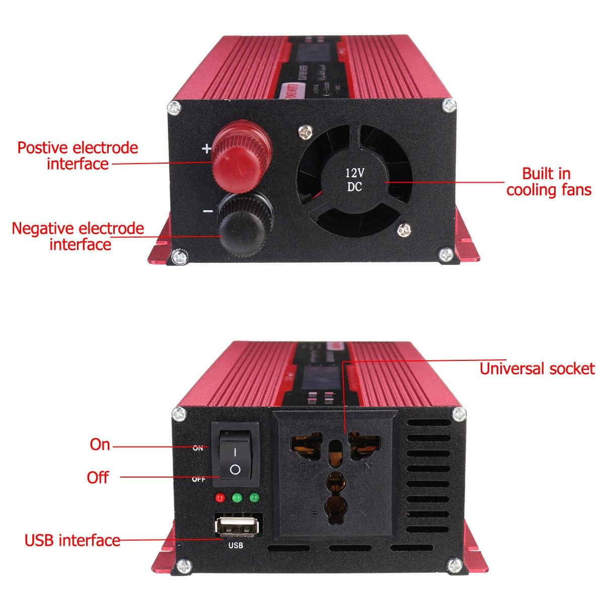 Onduleur solaire à onde sinusoïdale modifiée de crête 4000 W DC12V à AC220V convertisseur d'intelligence numérique LCD de voiture + Clip négatif positif - 2
