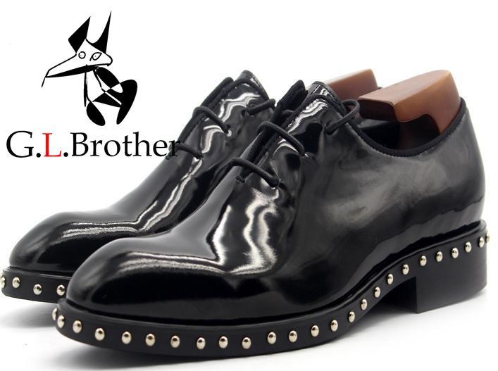 Simple Formal Oxford Bright Black Leather Shoes Lace-up Rivet Men Shoes Men Casual Shoes simple men s casual shoes with criss cross and color block design