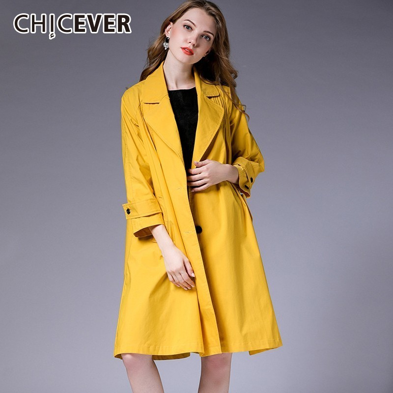 CHICEVER 2018 Autumn Women's Windbreakers Lapel Long Sleeve Single Breasted Loose Plus Sizes   Trench   Coat Female Fashion Clothing