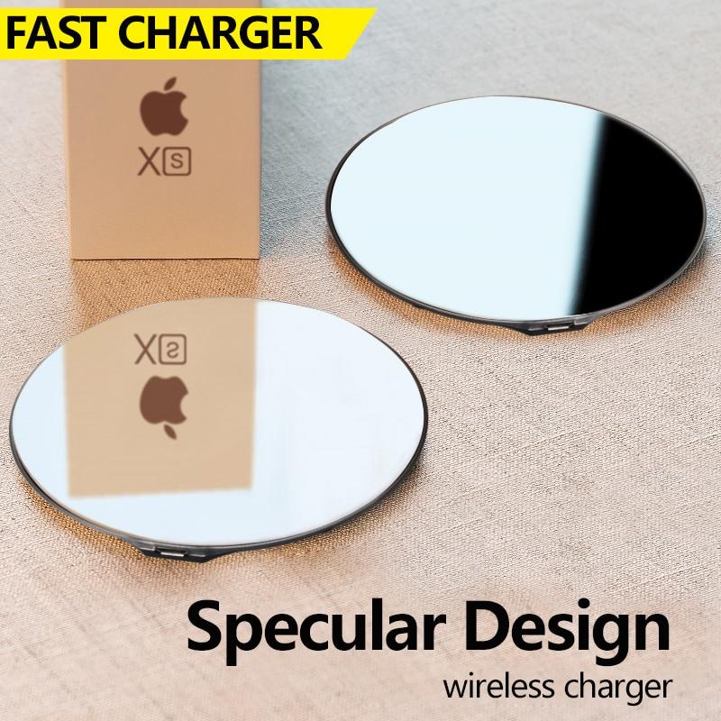 VEEAII 10 W carregador Rápido Carregador Sem Fio Para o iphone X XS Max XR espelho especular Design quick charge 3.0 Para samsung Galaxy S9