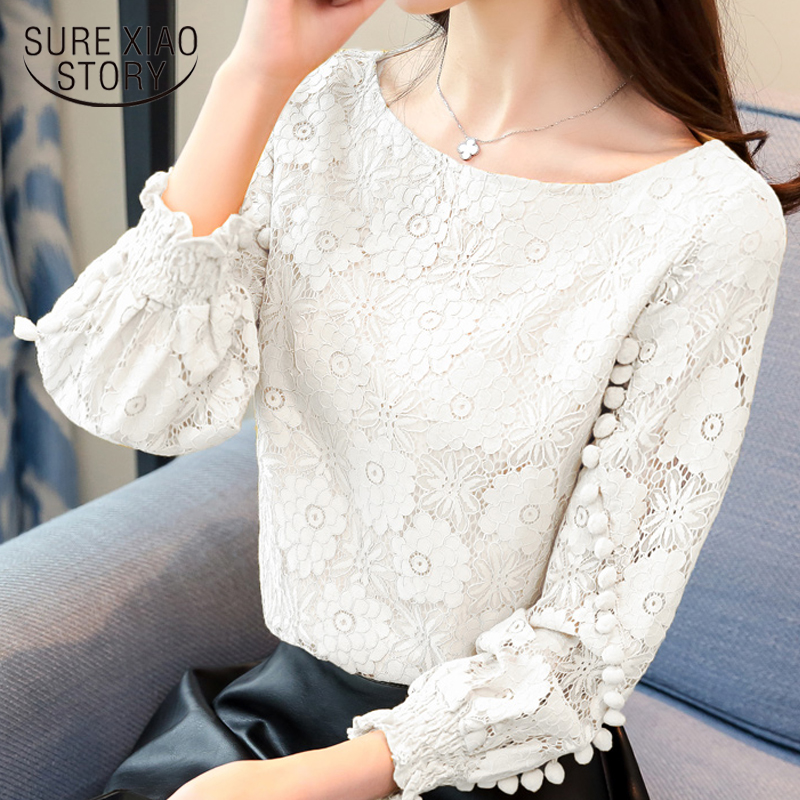 new 2019 long sleeve women   blouse     shirt   fashion lace solid female clothing elegant button floral feminine   blouse   0698 30