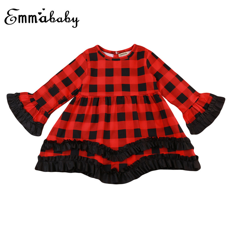 932b8fbca828 Kids Plaid Dress Girls Clothes Autumn Winter Long Flare Sleeve Dresses  Princess Costume Child Baby Girls 1 2 3 4 5 6 Year