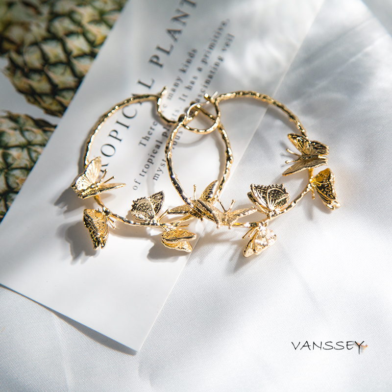 Vanssey Vintage Fashion 3D Butterfly Insect Branch Brass Hoop Earrings Accessories For Women 2018 New