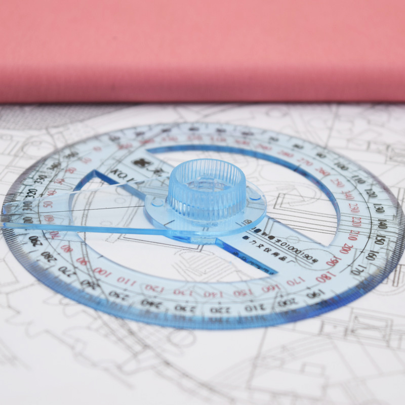 1pc 10cm Ruler Circular Transparent Plastic 360 Degree Pointer Protractor Ruler Angle Drafting Protractor Statioenry School Supplies