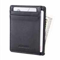 Minimalist Id Credit Card Holder Men Genuine Leather Slim RFID Drop Ship 564-43 Billetera Hombre Carteira Masculina Card Wallet