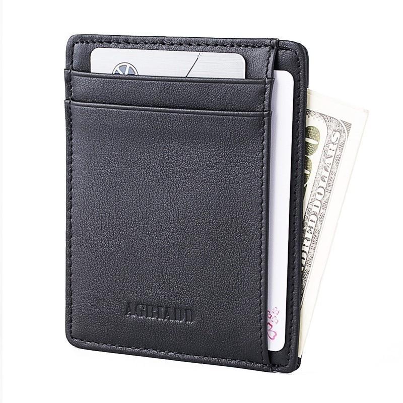 Minimalista Id Titular do Cartão de Crédito Dos Homens de Couro Genuíno Fino RFID Navio Da Gota 564-43 Hombre Billetera Carteira Masculina Cartão carteira