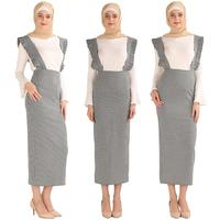Muslim Women Suspender Plaid Stripe Skirt High Waist Bodycon Maxi Pencil Dress Bodycon Islamic Bottoms Mid calf Length Ramadan