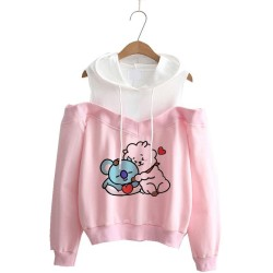 Hoodie kpop Hoodies Women Femele Pullover cartoon Sweatshirts For female k pop Highstreet K-pop Hooded 3
