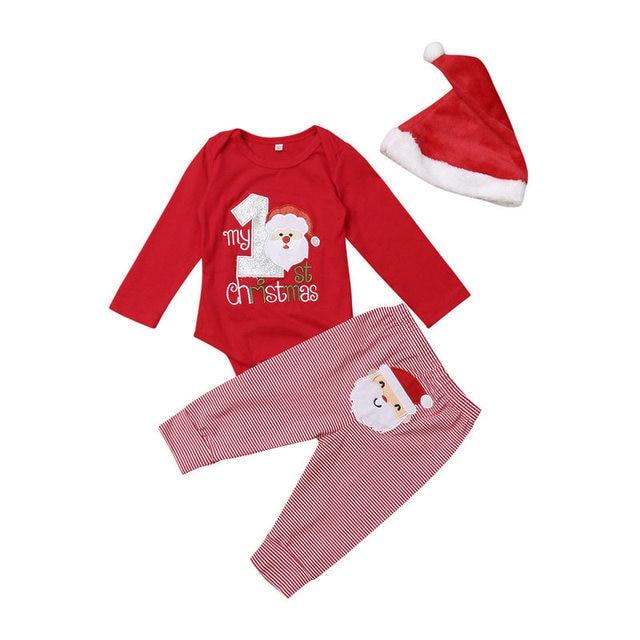 eba95a9fca6d 2018 Todler Baby Girls Clothes Set My First Christmas Santa Claus Infant  Kid Cotton Bodysuit Striped Pants Hat Party 3Pcs Outfit