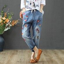 Women Summer Vintage Jeans Pants 2019 High Waist Slim Casual Floral Embroidery Pantalon Female Denim Capris