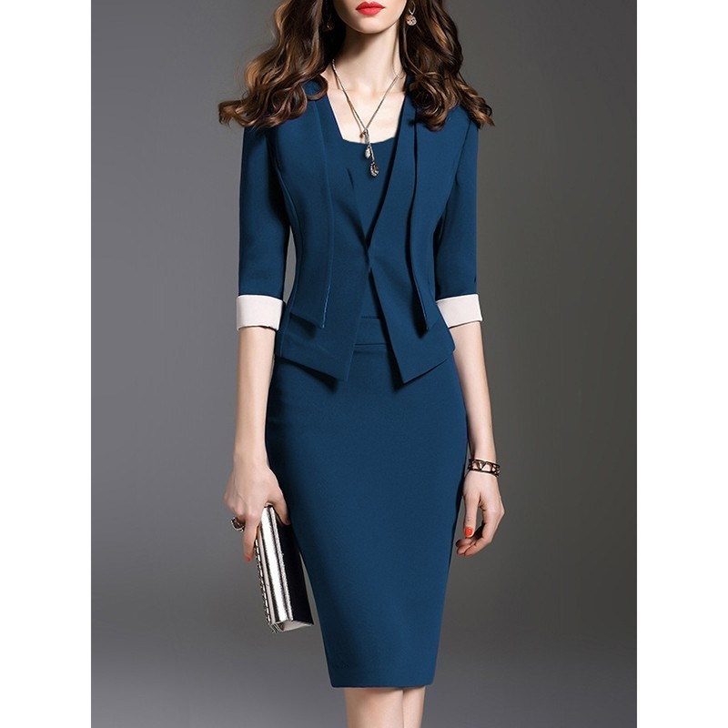 Women Business Office Dress Summer 2019 Blue Plus Size Pencil Patchwork Tunic Midi Elegant For