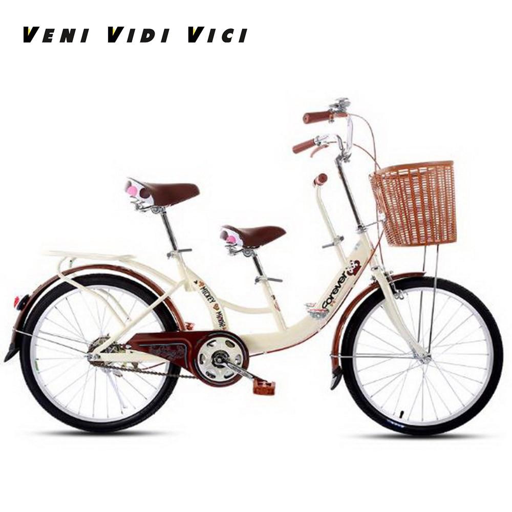 Venividivici 22/24 Inch Rubber Tires Ladies Bikes Parent-child Bike Double Person Bike Electroplated Child Pedal