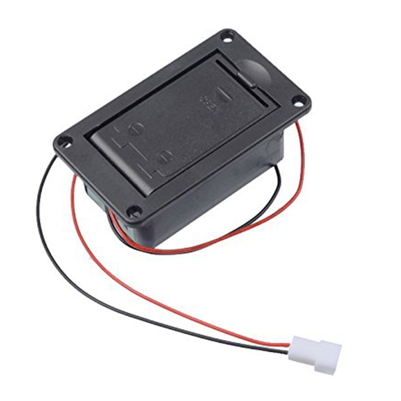 ABGZ-Active Bass Guitar Pickup 9V Battery Boxs/Holder/Case/Compartment Cover With Metal Contacts Spring And 2 Pin Plug with Case