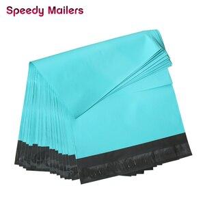 Image 2 - Hızlı Posta 100 adet 8.5x10 inç Renkli Poli Mailer 22x26 cm Teal Yeşil Poli Mailer Kendinden mühür Plastik Ambalaj Zarf Çanta