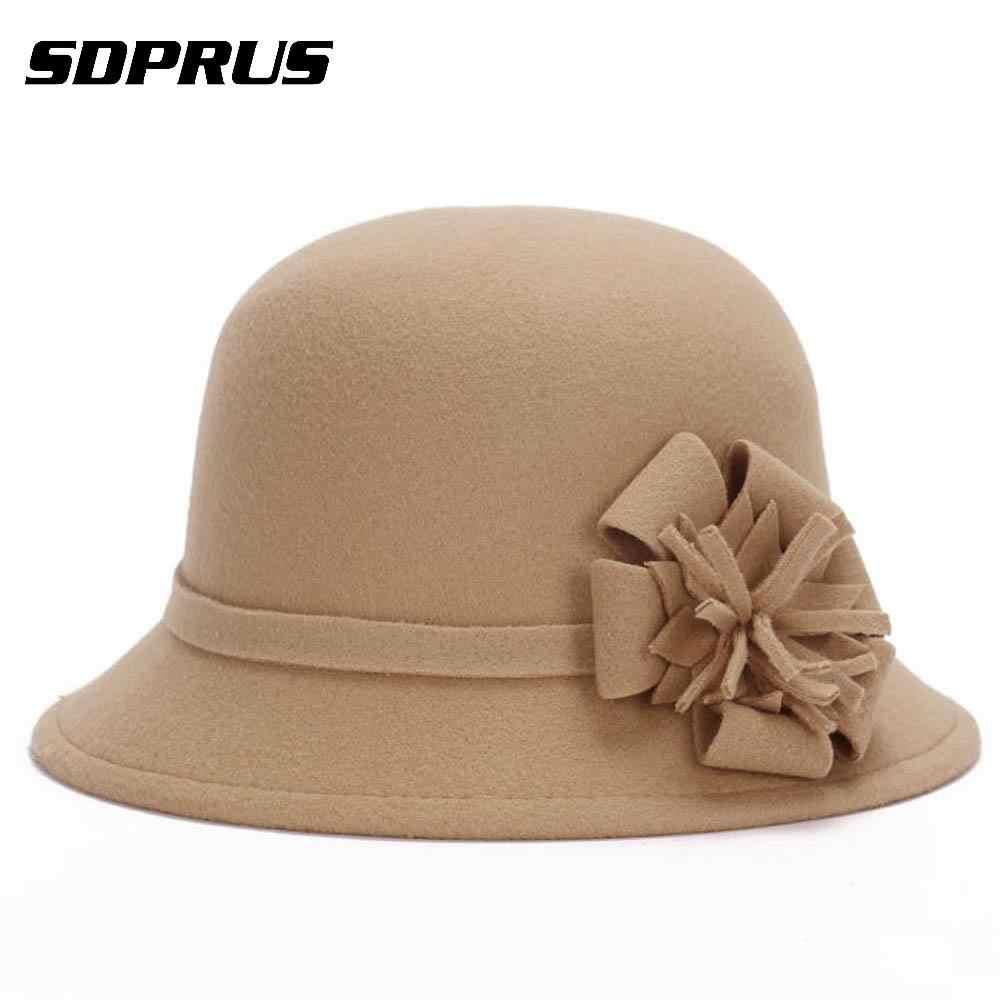 8fd22c95baed01 Women Bucket Cap Vintage Elegant Imitation Round Cap Wool Flower Felt Hat  Winter Warm Wide Brim