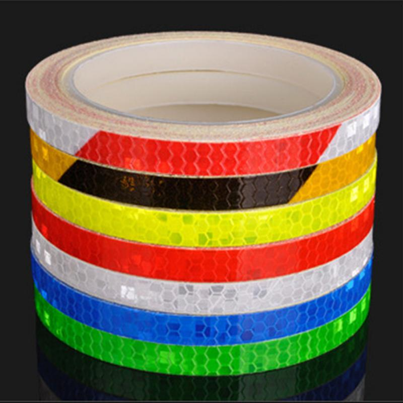 Bicycle Reflective Stickers MTB Bike Motorcycle Fluorescent Decal Tape Safety Warning Cycling Accessories 1CM*8M