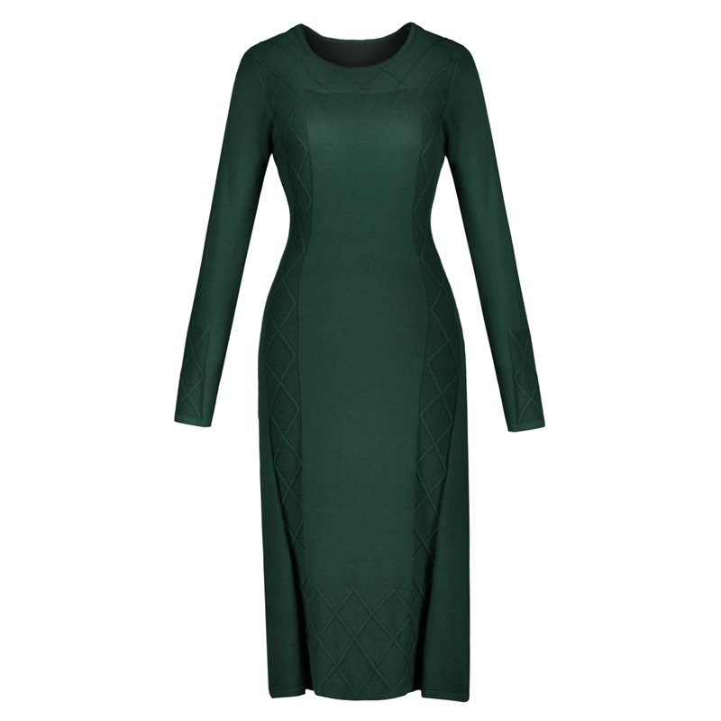 Sexy Bodycon Sweater Dress Women Autumn Winter 2019 Stylish Vintage Warm Soft Female Solid Green Elegant Midi Knitted Dressed