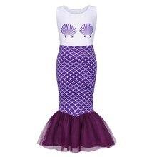 AmzBarley Little Mermaid Costume baby girl Ariel Princess Dress kid sleeveless trumpet dress Birthday Party Summer clothing