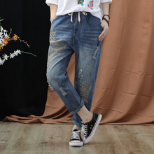 Boyfriend Elastic Waist Jeans For Women 2019 Vintage Ripped Holes Denim Washed Floral Embroidery Pants Woman