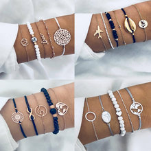 Bohemian Shell Charm Bracelets for Women Vintage Golden Turtle MaP Chain Cuff Bracelet Set Fashion Beads Bracelet Female jewelry(China)