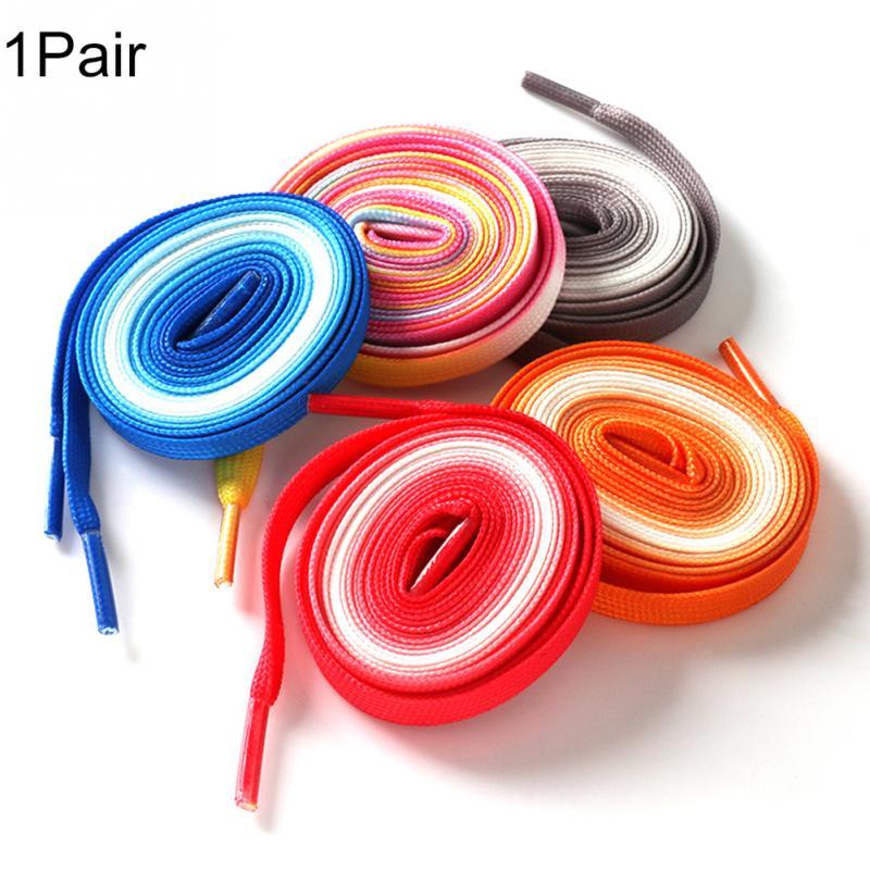 1pair Fashion Gradient Ramp Flat Fashion Colorful Rainbow Leisure Shoestring Shoelace #9271pair Fashion Gradient Ramp Flat Fashion Colorful Rainbow Leisure Shoestring Shoelace #927