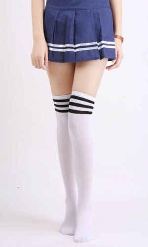 ブランド 2019 新セクシーな女性レディガールズファッション綿ニットオーバー膝腿の高ストッキングロングブーツ暖かいケーブルストライプストッキング