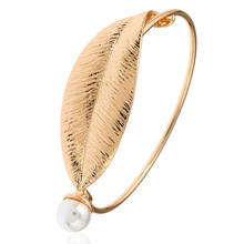 Wholesale Fashion Imitation Pearl Ethnic Cuff Bracelet Leaves Circular Beads Bracelet Bangle Women Jewelry Christmas Gift недорого
