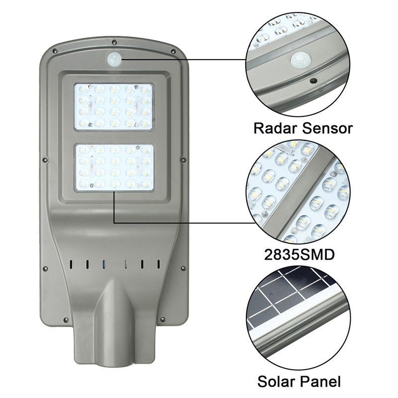 40W Solar Powered Radar Sensor Light Control LED Street Light Outdoor Waterproof Wall Lamp40W Solar Powered Radar Sensor Light Control LED Street Light Outdoor Waterproof Wall Lamp