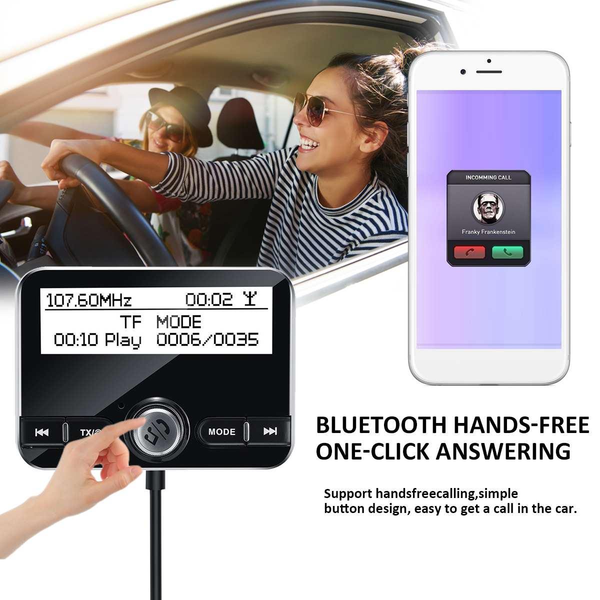 Car DAB Radio Digital Radio Receiver Tuner USB Adapter TF/AUX Antenna LCD Display Handsfree Calling bluetooth FM Transmitter