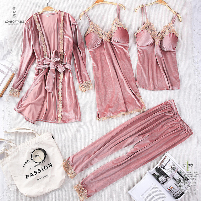 Winter Women Velvet Sleepwear Comfortable Loose Lounge Robe Set Lace Warm 3PCS Pajamas Sleep Suit Kaftan Nightgown Home Clothing 1