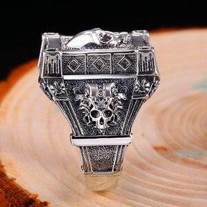 Image 3 - ZABRA Adjustable Size 925 Sterling Silver Skull Rings For Men Zircon Ring Vintage Puck Rock Biker Jewelry
