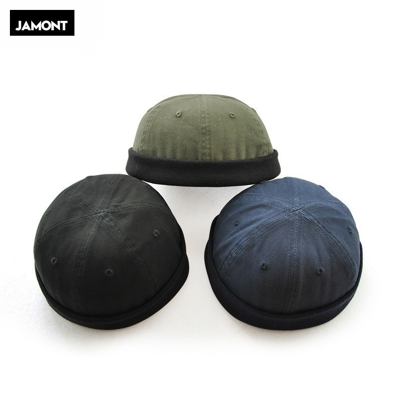 JAMONT Men's Autumn Cotton Brimless Skullies Cap Retro Urban Unique Street Beanie
