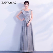 BANVASAC Elegant O Neck Lace Appliques A Line Long Evening Dresses Party Tulle Sexy Up Backless Prom Gowns