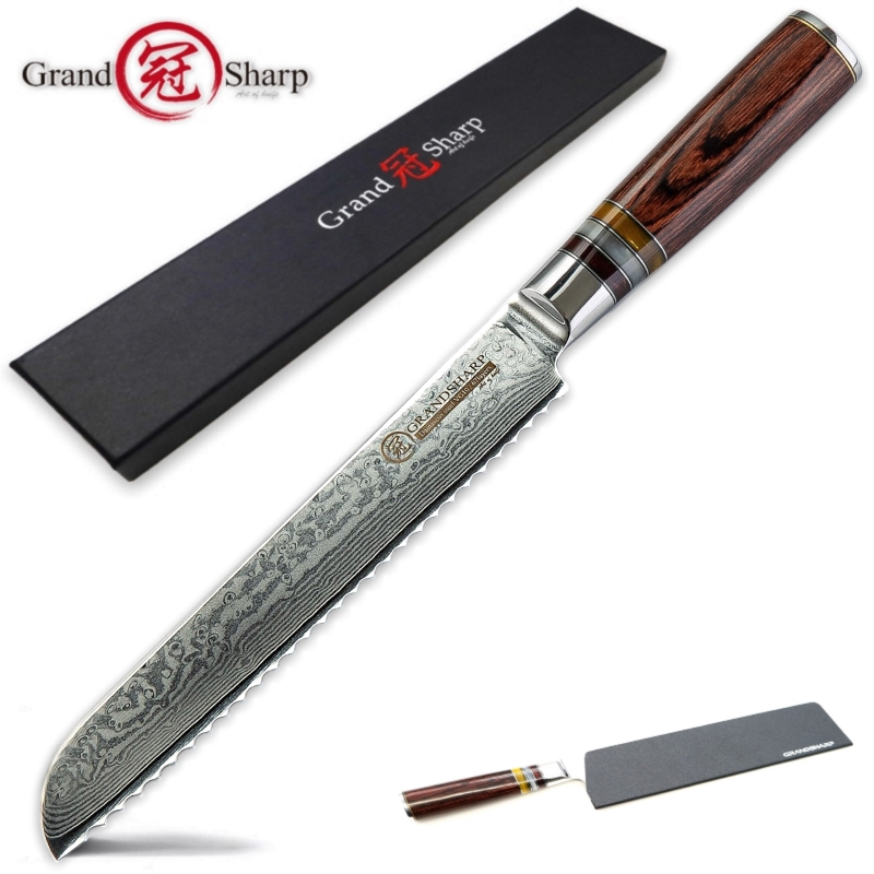 Bread Knife Japanese Damascus vg10 steel kitchen knives cake slicing tools bakery chef gadgets serrated blade japanese knivesBread Knife Japanese Damascus vg10 steel kitchen knives cake slicing tools bakery chef gadgets serrated blade japanese knives