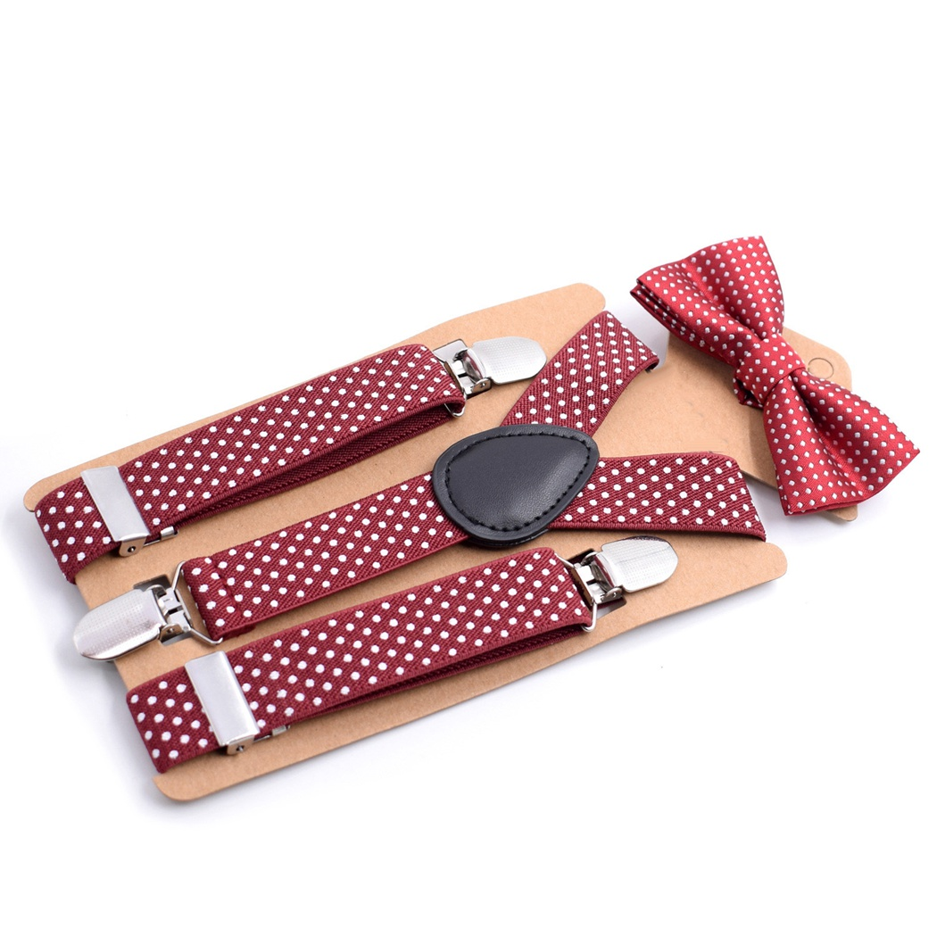 Baby Suspenders Pants Adjustable Elastic Y-Back Braces Tirantes Polka Dot Children Suspenders And Bowtie Bow Tie Set