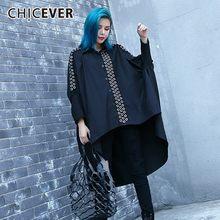 c5abe3870 CHICEVER Outono Camisa das Mulheres Blusa Top Batwing Luva Preta de Cintura  Alta Tamanho Grande Solto Assimetria Camisas Blusa R..