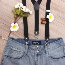 Retro man's Adjustable elastic braces fashion black Y-Back three-clip hook suspenders with leather vintage straps