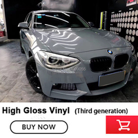 Third generation super glossy Cement Grey car body vinyl wrap Film for cars wrapping vinyl stickers 1.52*20m/roll Import glue