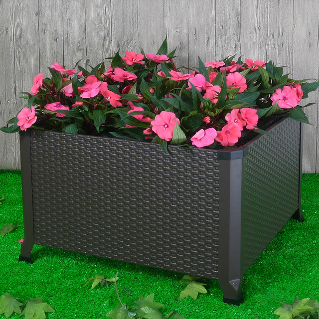Finether Engraved Elevated Planter Box Metal Raised