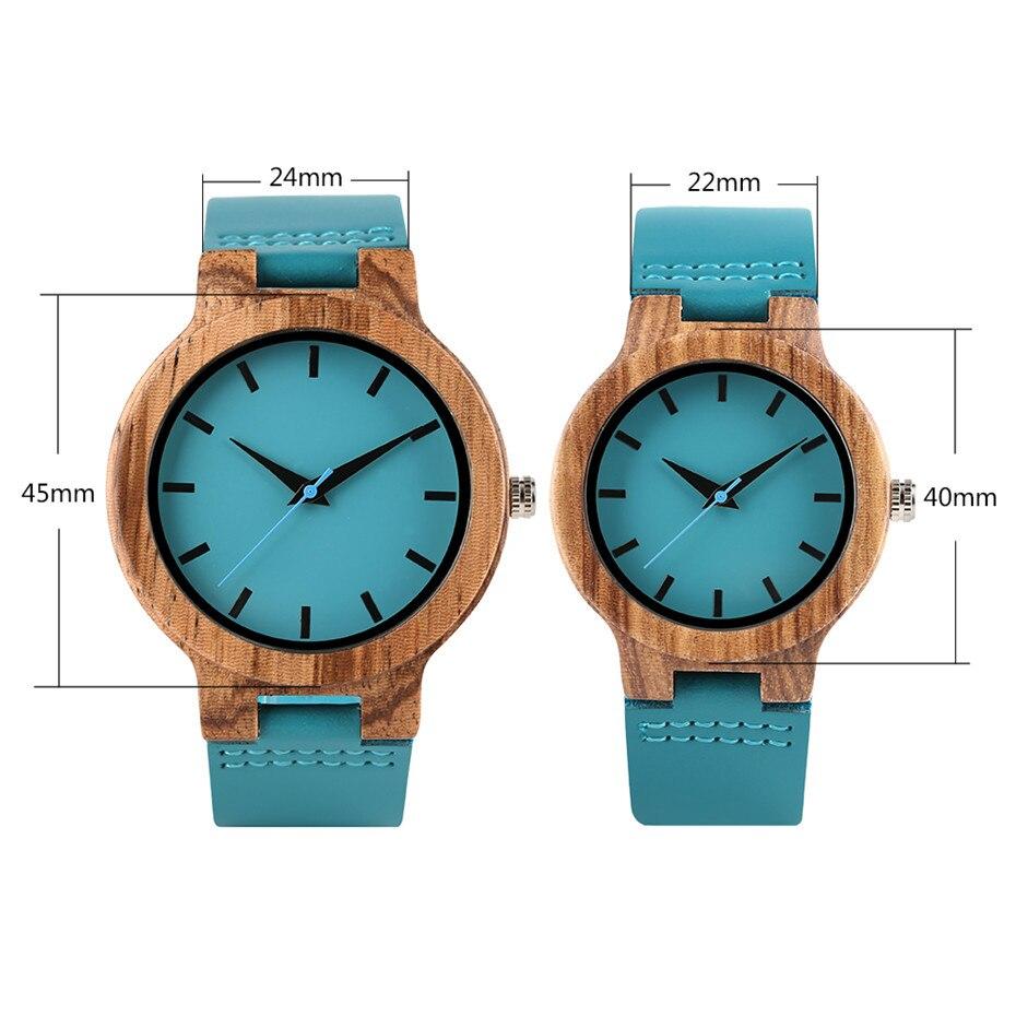 Minimalist Blue Wood Watch for Men Women Genuine Leather Wristwatch Mens Quartz Watch Elegant Watch Women Best Gifts for Lover