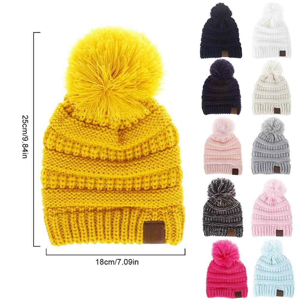 c7c811596b8 ... Fashion Kids Hat Skullies Beanies Pompom Children CC Hats Warm Winter  Toddler Cable Knit Girls Boy ...