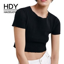 HDY Haoduoyi Youth Girls Simple Style Solid Color Black Tops Summer Round Neck Short-sleeved Fashion Sexy Navel T-shirt