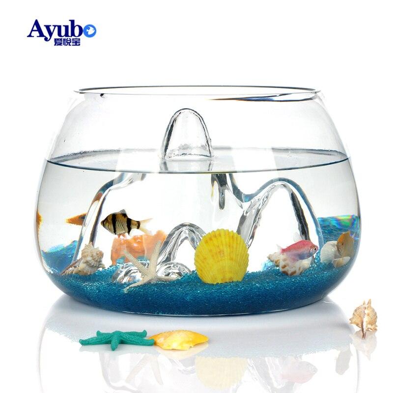 29%, créatif transparent verre paysage poisson bol aquarium écologique or poisson bol