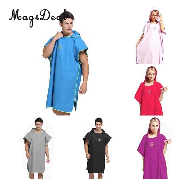 dc9eee4743 Adult Men Women Microfiber Surf Changing Robe Poncho Hooded Towel for Surfing  Beach Sports Kayak Swim Windsurf - 109x91cm