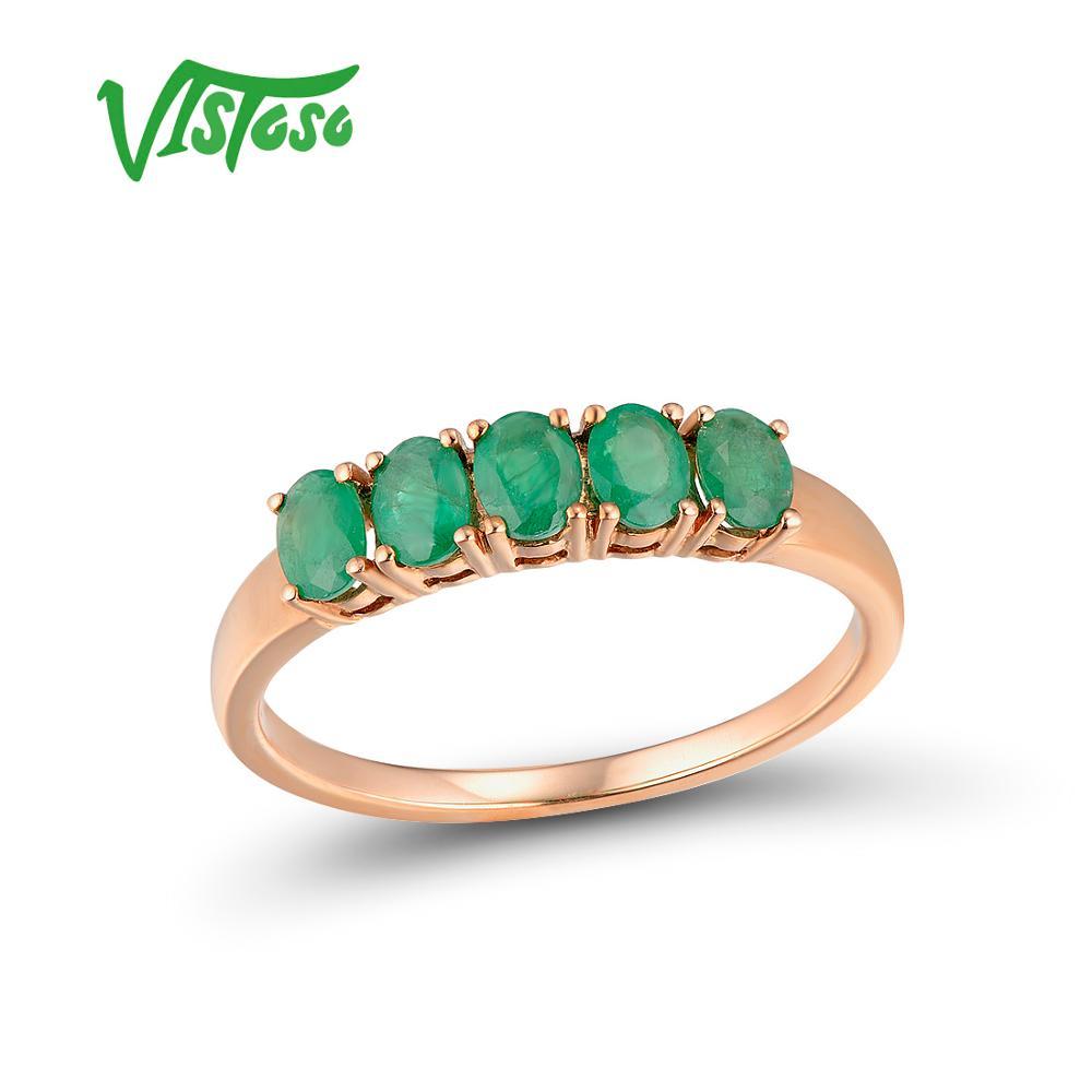 VISTOSO Gold Rings For Women Genuine 14K 585 Rose Gold Ring Magic Emerald Engagement Anniversary Round