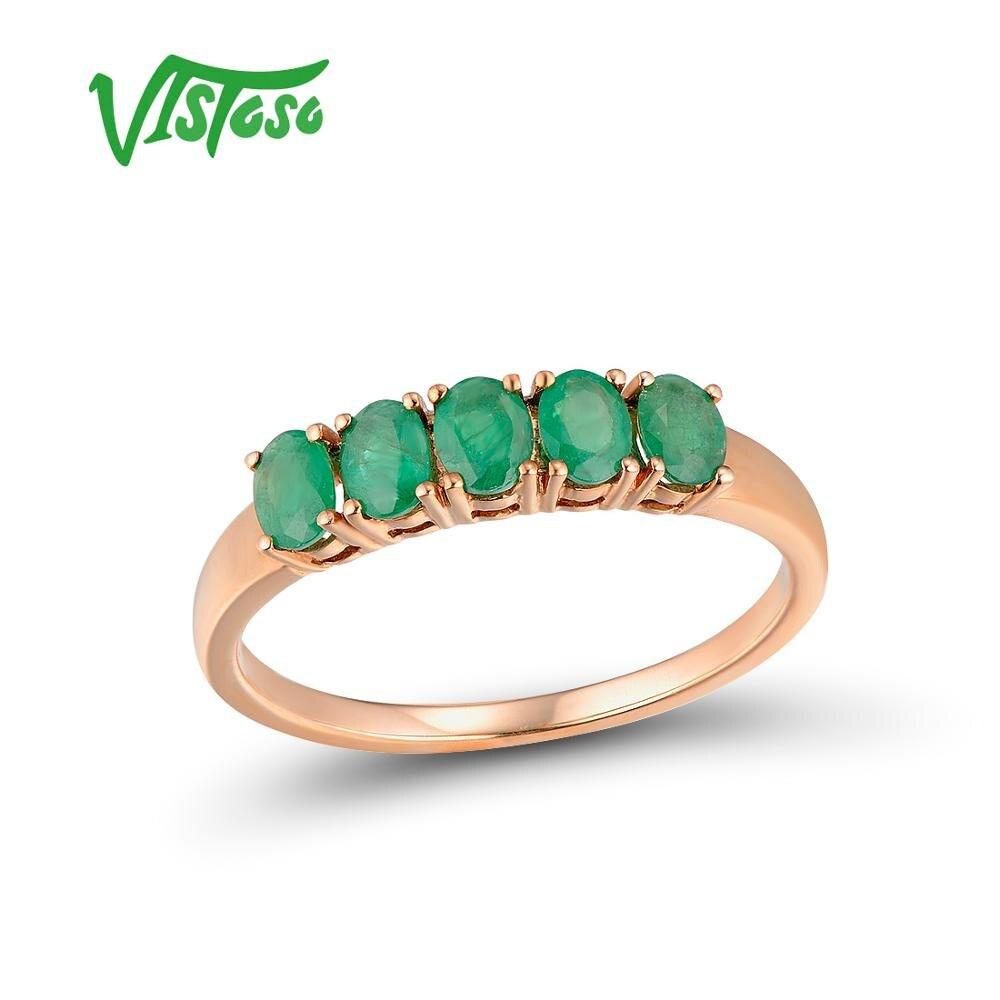 VISTOSO Gold Ringe Für Frauen Echte 14K 585 Rose Gold Ring Magie Smaragd Engagement Jahrestag Runde Ringe Trendy Feine schmuck-in Ringe aus Schmuck und Accessoires bei  Gruppe 1