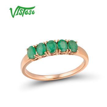 baec5e759df1 VISTOSO anillos de oro para las mujeres de 14 K 585 anillo de oro rosa  magia Esmeralda compromiso aniversario anillos RONDA DE bien joyería
