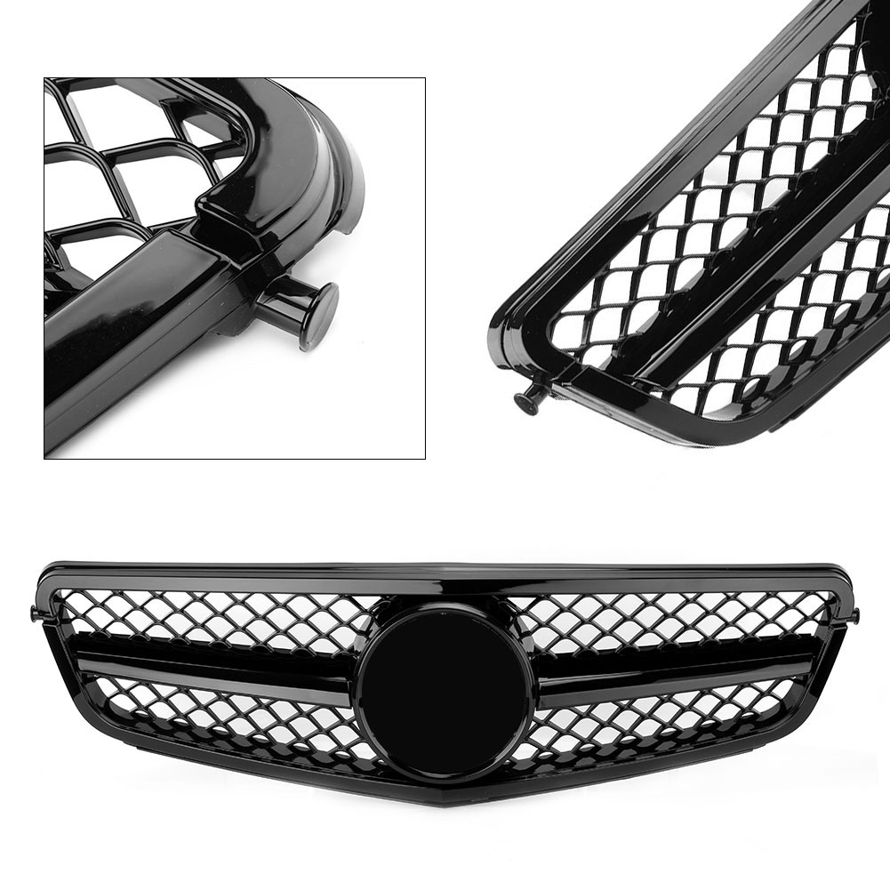 Car Front Grille <font><b>Grill</b></font> For Mercedes <font><b>Benz</b></font> C-Class <font><b>W204</b></font> C180 C200 C250 C300 C350 2008 2009 2010 2011 2012 2013 2014 Gloss Black image