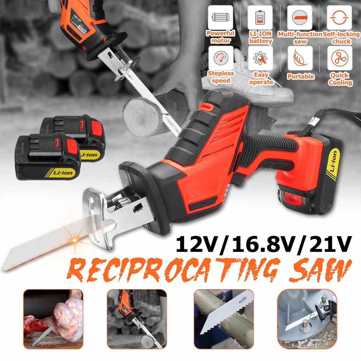 12V/16.8V/21V Reciprocating Saws Saber Saw Portable Cordless Electric Power Tools jig saw with 2pcs Rechargeable Lithium Battery|Electric Saws| |  - title=